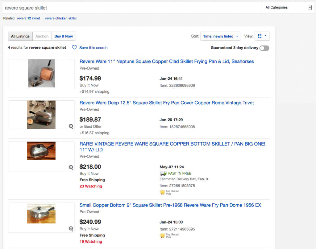 Using Ebay Saved Searches To Find Rare Items Or Get A Deal Revere Ware Parts