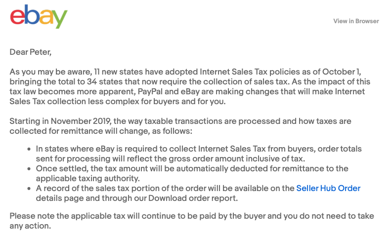 Sales Tax Ebay Will Now Collects Taxes Revere Ware Parts